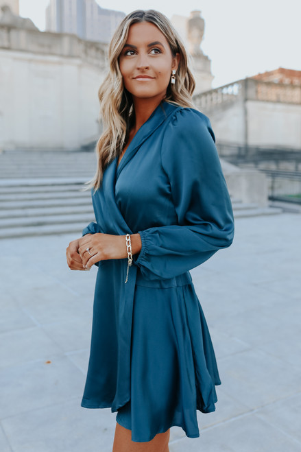 After Hours Teal Satin Wrap Dress