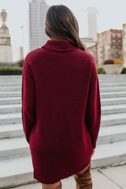 Turtleneck Burgundy Sweater Dress