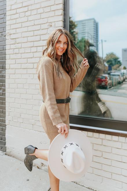 Turtleneck Camel Sweater Dress