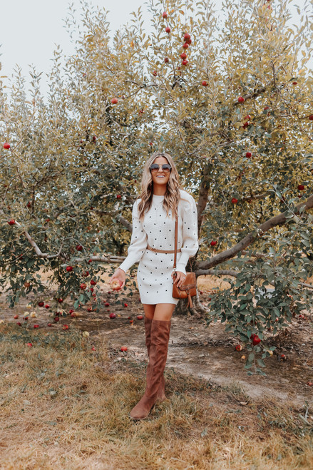 Puff Sleeve Dotted Sweater Dress