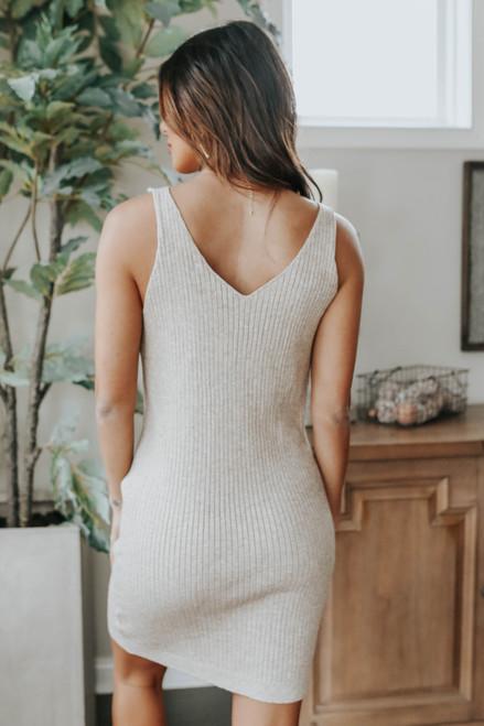 Hold Up V-Neck Ribbed Dress