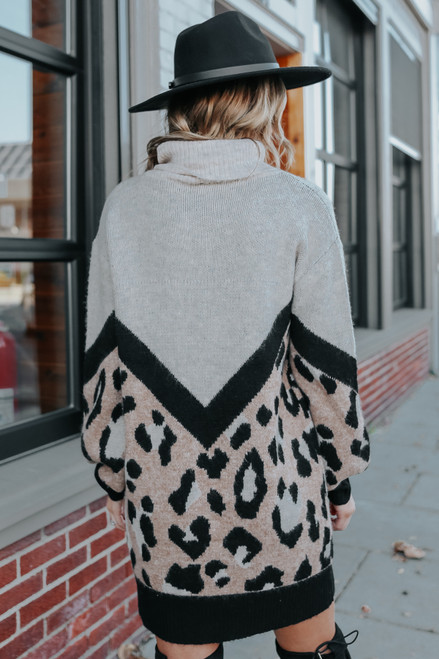 Turtleneck Chevron Leopard Sweater Dress