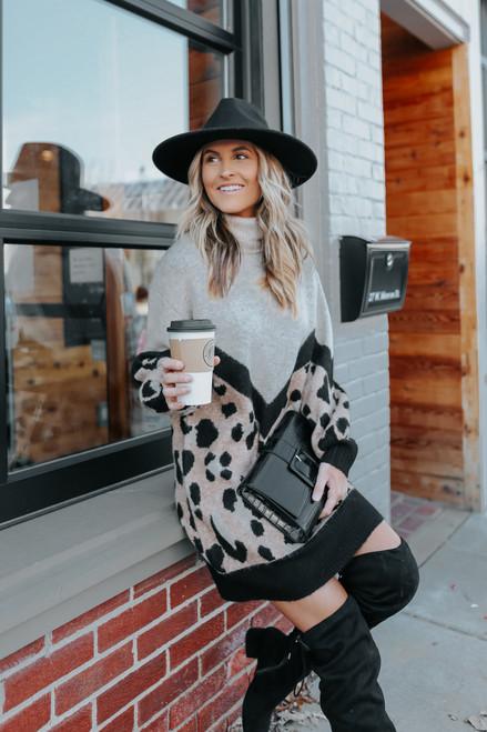Turtleneck Chevron Leopard Sweater Dress