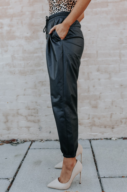 Drawstring Faux Leather Joggers