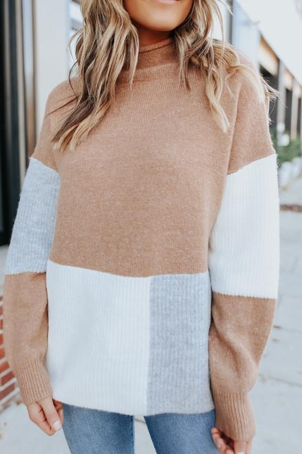 Mock Neck Colorblock Sweater