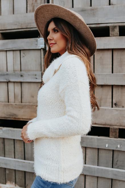 Amora Turtleneck Ivory Popcorn Sweater