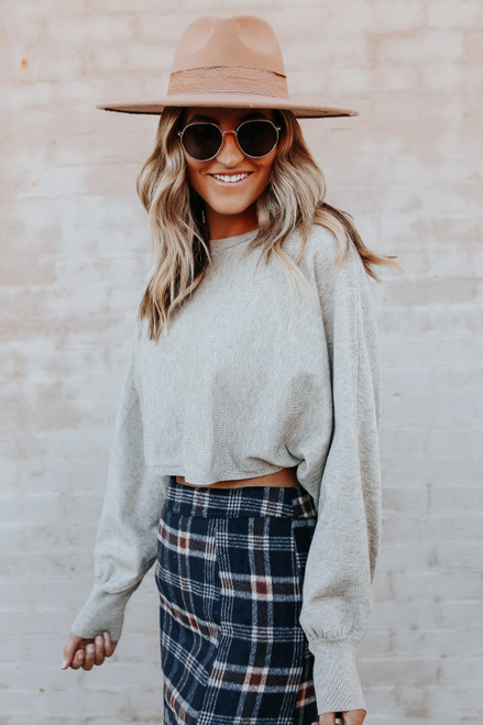 Hold Up Ribbed Cropped Sweater