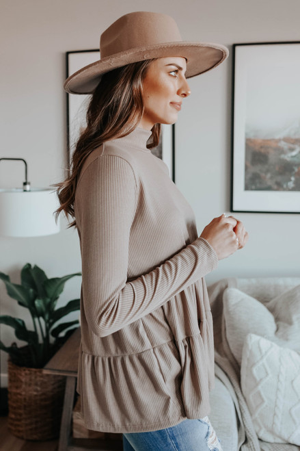 Mock Neck Cocoa Ribbed Tiered Top