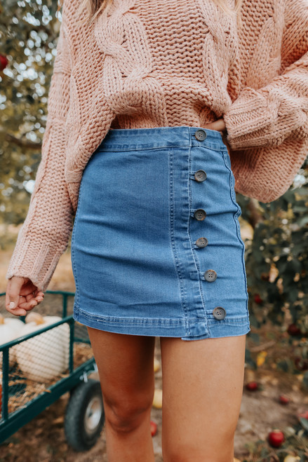 Side Button Medium Wash Denim Skirt