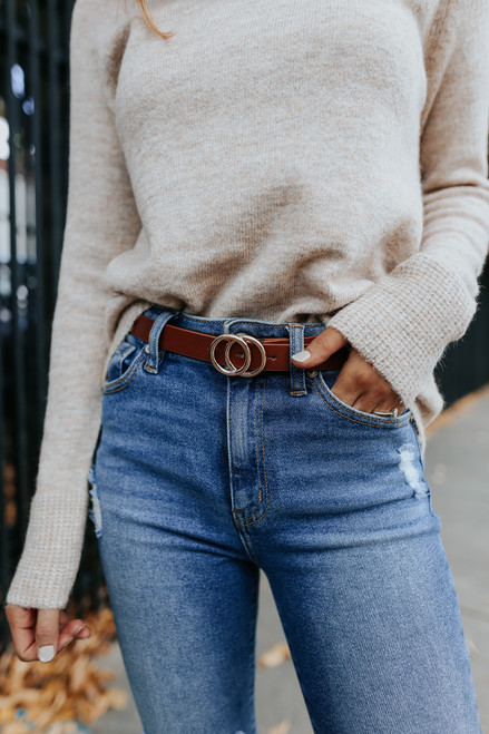 Fifth Avenue Double O Ring Tan Belt
