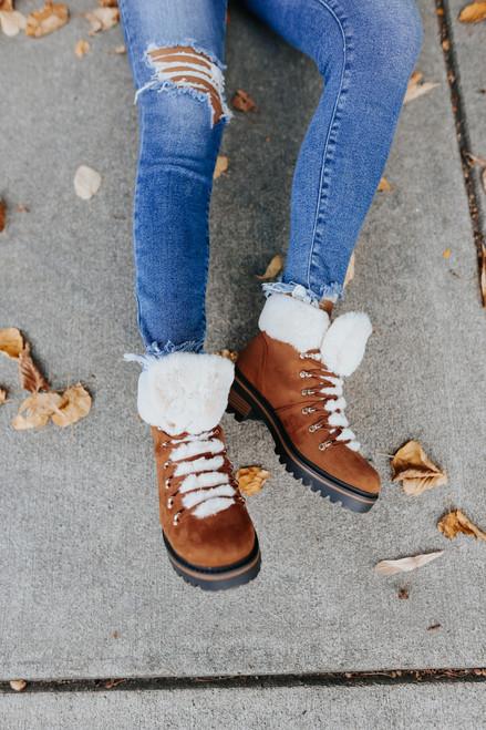 Lace Up Faux Fur Brown Boots