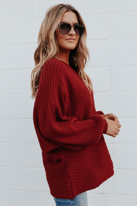 Boatneck Dolman Red Ribbed Sweater