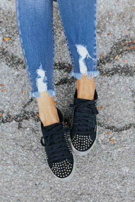Faux Suede Studded Star Black Sneakers