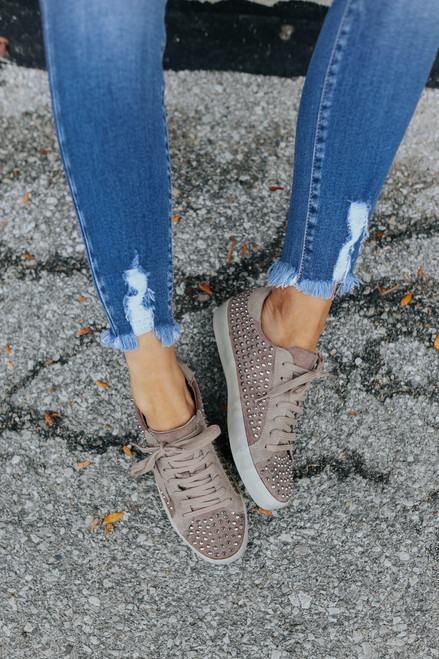 Faux Suede Studded Star Taupe Sneakers