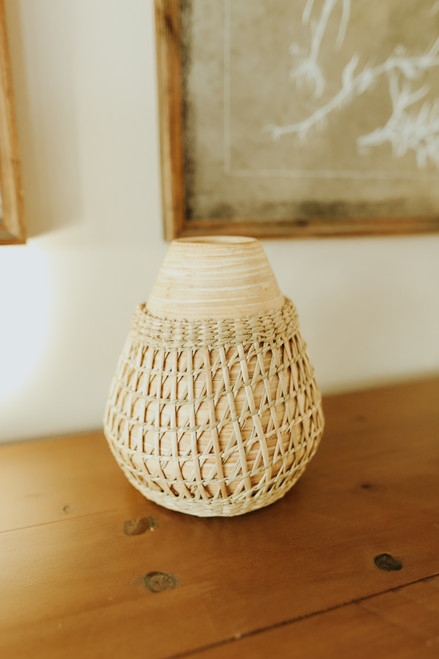 """6"""" Seagrass Weave Bamboo Vase"""