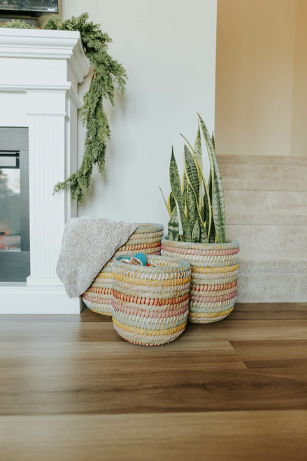 Rainbow Handwoven Decorative Baskets
