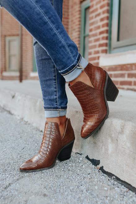 Faux Croc Brown Western Booties