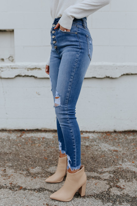 5-Button Medium Wash Distressed Skinny Jeans