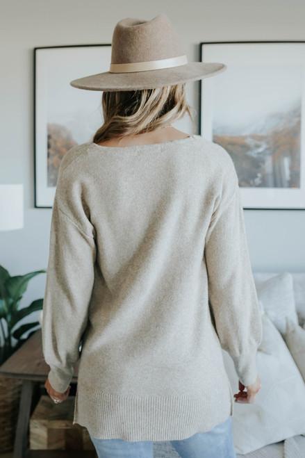 V-Neck Seam Detail Oatmeal Sweater