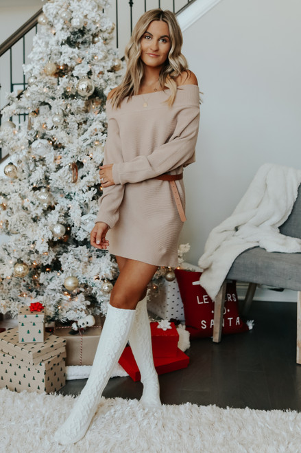 Off the Shoulder Taupe Sweater Dress