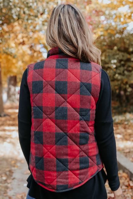 Hidden Trail Red Plaid Vest