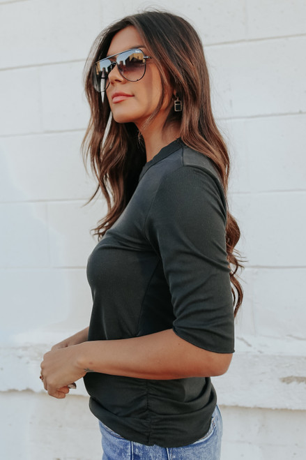 3/4 Sleeve Ruched Side Black Ribbed Top