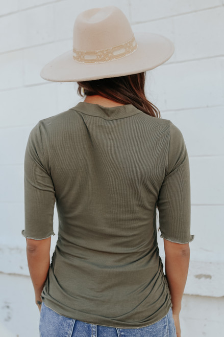 3/4 Sleeve Ruched Side Olive Ribbed Top
