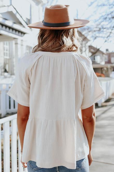 Short Sleeve Peplum Crinkle Top