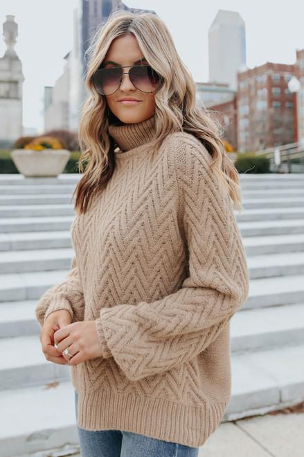 Winter Winds Turtleneck Chevron Sweater