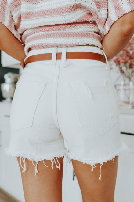 Free People Makai White Cut Off Shorts