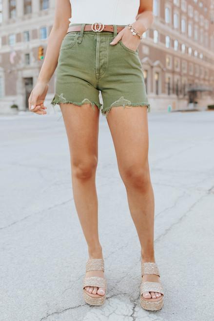 Free People Makai Olive Cut Off Shorts