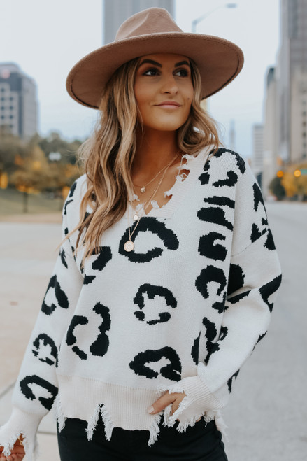 Wild Obsession Frayed Leopard Sweater
