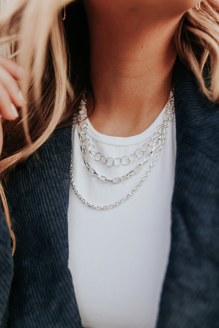 Versailles Layered Silver Necklace