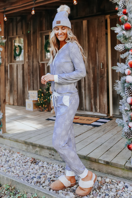 Snowflake Wishes Grey Pajama Set