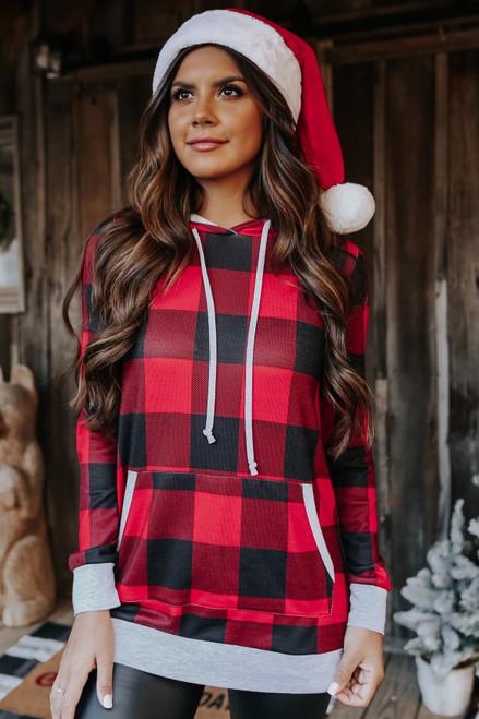 Christmas Morning Red Plaid Hoodie