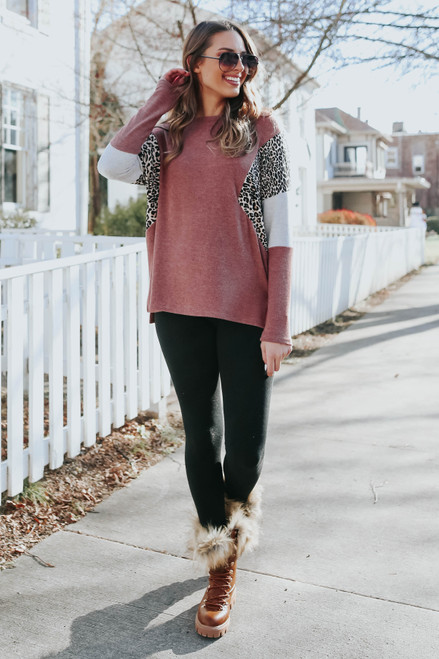 Brushed Leopard Rust Colorblock Pullover