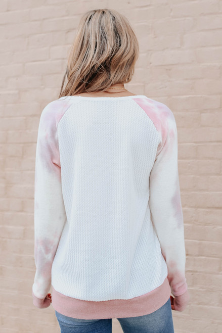 Contrast Tie Dye Brushed Waffle Pullover