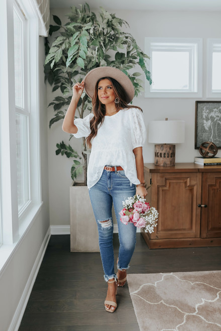 Rosalind Jacquard Floral Babydoll Top