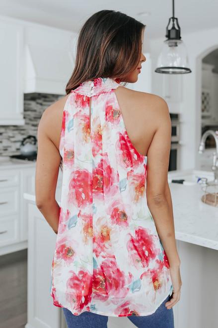 Mock Neck Sleeveless Floral Top