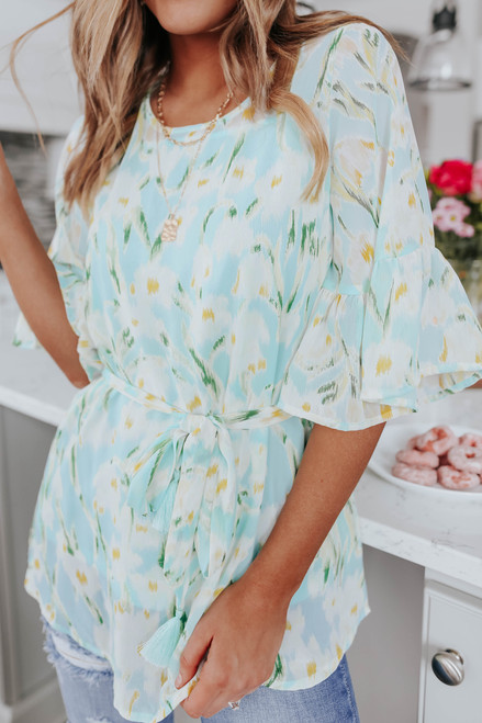 Sea Breeze Tie Waist Printed Blouse