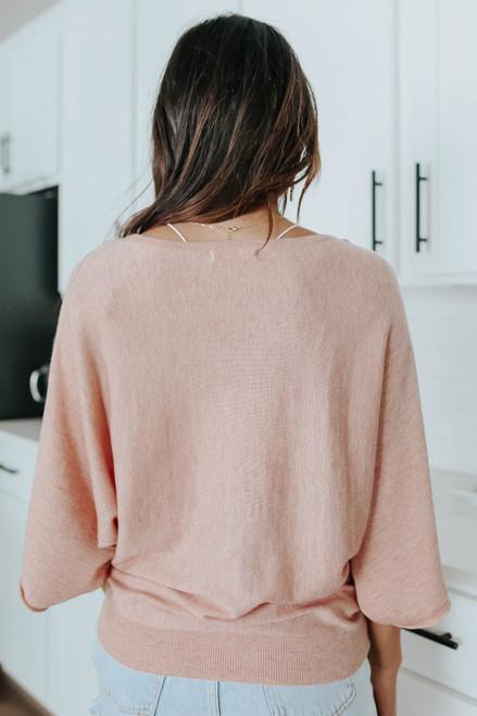 Boatneck Dolman Blush Kimono Sweater