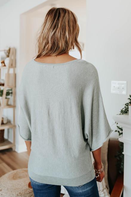 Boatneck Dolman Mint Kimono Sweater