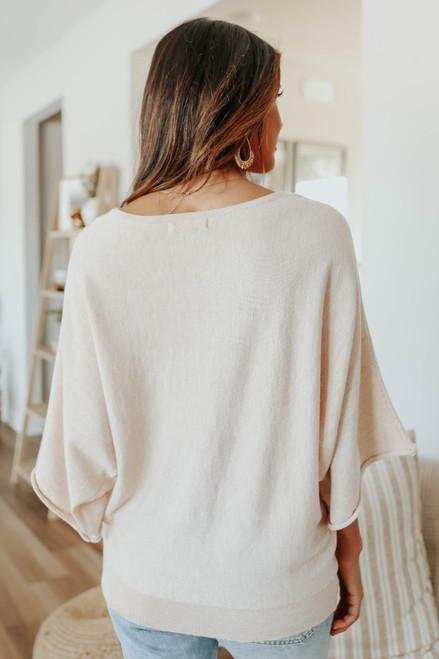 Boatneck Dolman Oatmeal Kimono Sweater