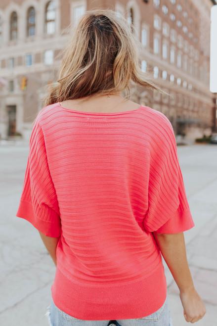 V-Neck Coral Ribbed Kimono Sweater