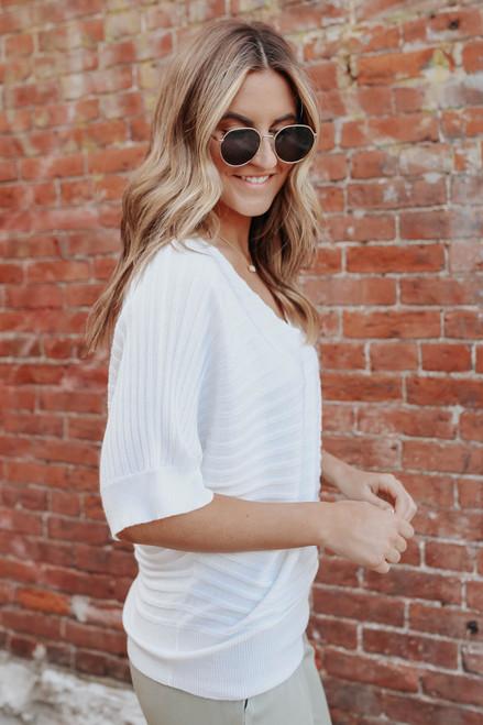 V-Neck White Ribbed Kimono Sweater