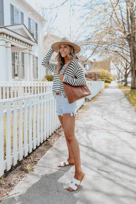 V-Neck Open Knit Striped Sweater