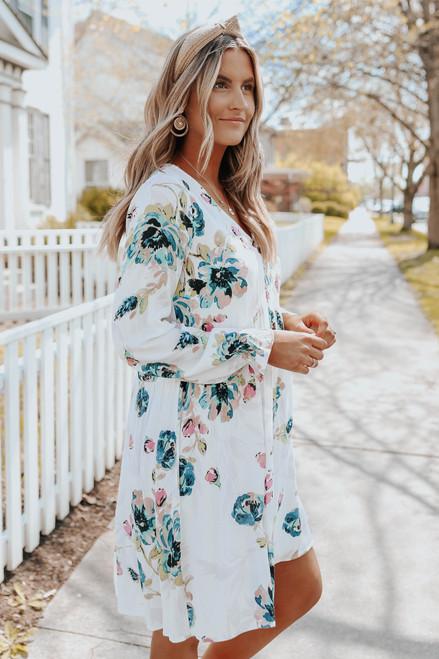 V-Neck Ivory Floral Babydoll Dress