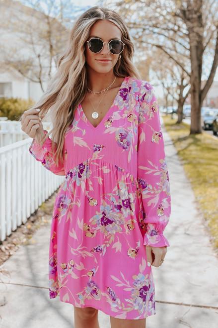V-Neck Hot Pink Floral Babydoll Dress