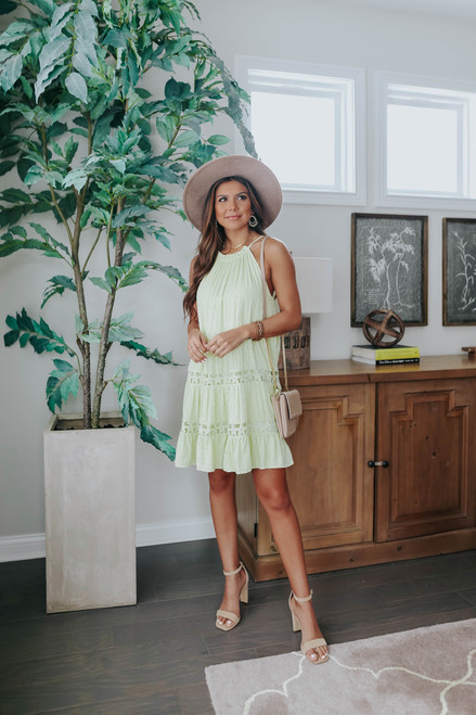 Island Villa Dotted Halter Dress
