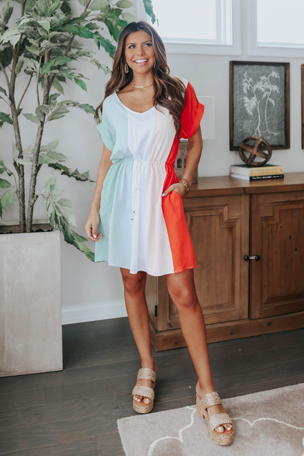 Happy Hour Drawstring Colorblock Dress